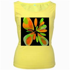 Colorful abstract flower Women s Yellow Tank Top