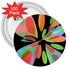 Colorful abstract flower 3  Buttons (100 pack)