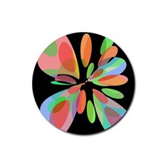 Colorful abstract flower Rubber Round Coaster (4 pack)