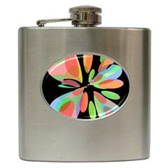 Colorful abstract flower Hip Flask (6 oz)