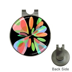 Colorful abstract flower Hat Clips with Golf Markers