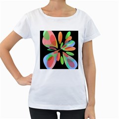 Colorful abstract flower Women s Loose-Fit T-Shirt (White)