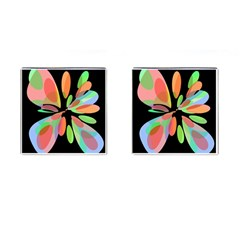 Colorful abstract flower Cufflinks (Square)