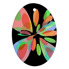 Colorful abstract flower Oval Ornament (Two Sides)