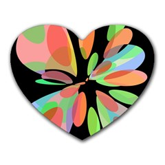 Colorful abstract flower Heart Mousepads