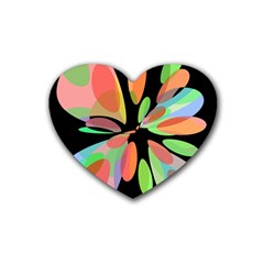 Colorful abstract flower Rubber Coaster (Heart)