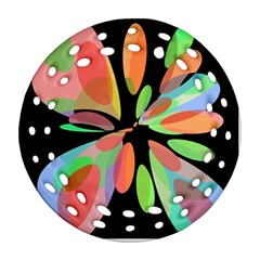 Colorful abstract flower Ornament (Round Filigree)