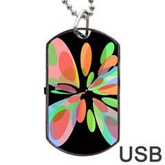 Colorful abstract flower Dog Tag USB Flash (Two Sides)