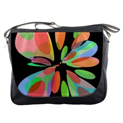 Colorful abstract flower Messenger Bags