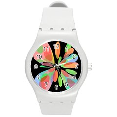 Colorful abstract flower Round Plastic Sport Watch (M)