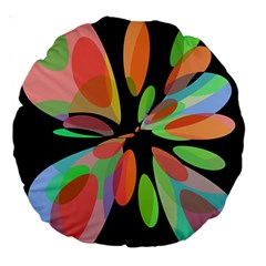 Colorful abstract flower Large 18  Premium Round Cushions