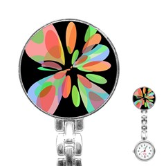 Colorful abstract flower Stainless Steel Nurses Watch
