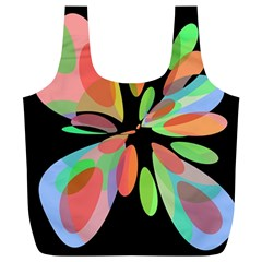 Colorful abstract flower Full Print Recycle Bags (L)