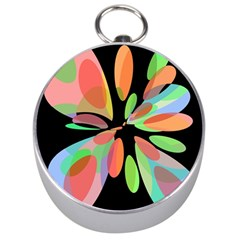 Colorful abstract flower Silver Compasses