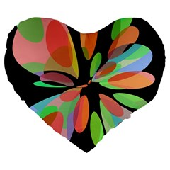 Colorful abstract flower Large 19  Premium Flano Heart Shape Cushions