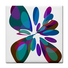 Blue abstract flower Tile Coasters