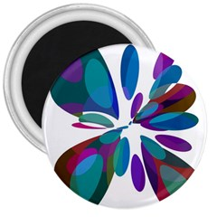 Blue abstract flower 3  Magnets