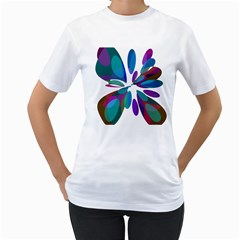 Blue abstract flower Women s T-Shirt (White) (Two Sided)