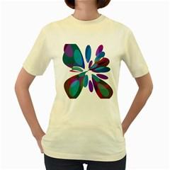 Blue abstract flower Women s Yellow T-Shirt