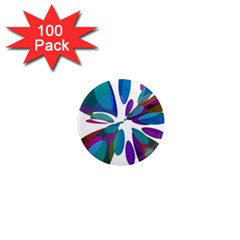 Blue abstract flower 1  Mini Magnets (100 pack)