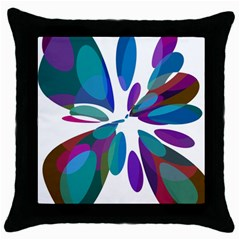 Blue abstract flower Throw Pillow Case (Black)