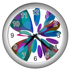 Blue abstract flower Wall Clocks (Silver)