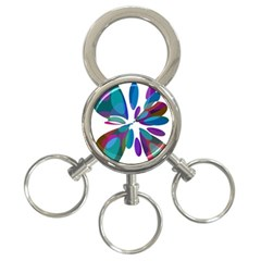 Blue abstract flower 3-Ring Key Chains