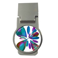 Blue abstract flower Money Clips (Round)