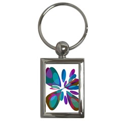 Blue abstract flower Key Chains (Rectangle)