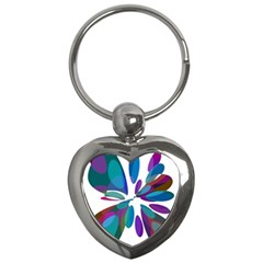 Blue abstract flower Key Chains (Heart)