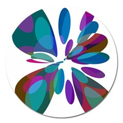 Blue abstract flower Magnet 5  (Round)