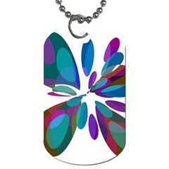 Blue abstract flower Dog Tag (One Side)