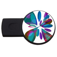 Blue abstract flower USB Flash Drive Round (1 GB)