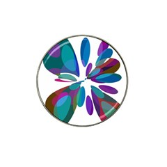 Blue abstract flower Hat Clip Ball Marker (4 pack)
