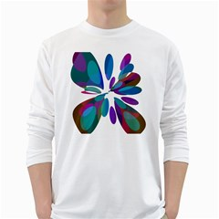 Blue abstract flower White Long Sleeve T-Shirts