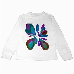 Blue abstract flower Kids Long Sleeve T-Shirts