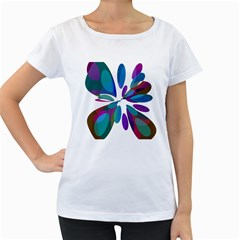 Blue abstract flower Women s Loose-Fit T-Shirt (White)