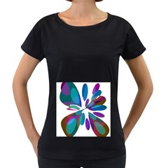 Blue Abstract Flower Women s Loose Fit T Shirt (black)