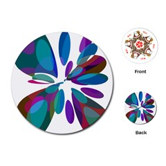 Blue abstract flower Playing Cards (Round)