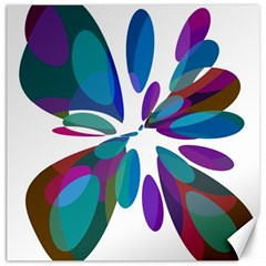 Blue abstract flower Canvas 16  x 16