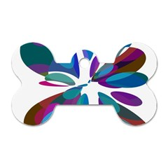 Blue abstract flower Dog Tag Bone (Two Sides)