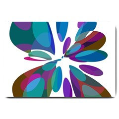 Blue abstract flower Large Doormat