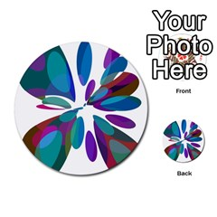 Blue abstract flower Multi-purpose Cards (Round)