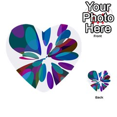 Blue abstract flower Multi-purpose Cards (Heart)