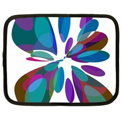 Blue Abstract Flower Netbook Case (large)