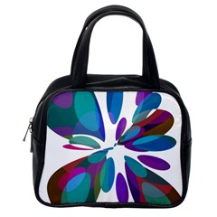 Blue abstract flower Classic Handbags (One Side)