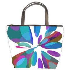 Blue abstract flower Bucket Bags