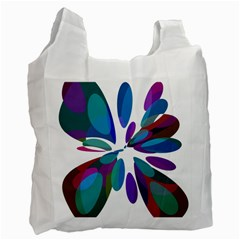 Blue abstract flower Recycle Bag (One Side)