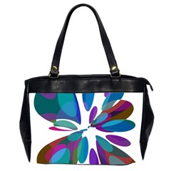 Blue abstract flower Office Handbags (2 Sides)