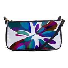 Blue abstract flower Shoulder Clutch Bags